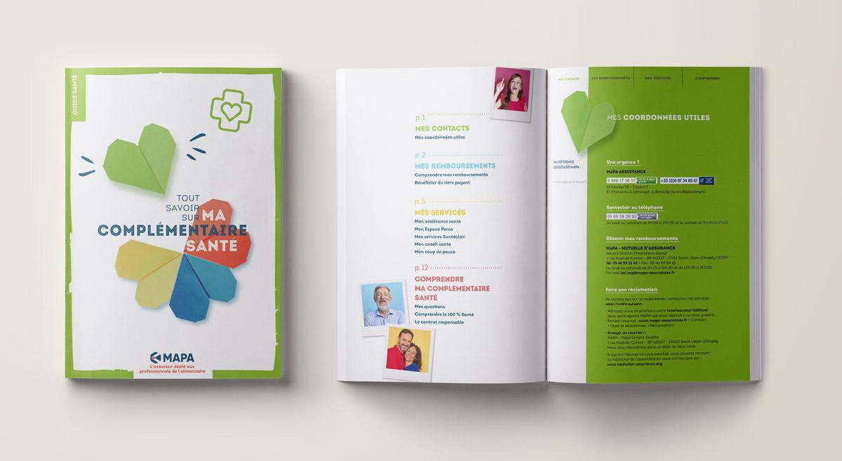 Couverture et page sommaire du guide Santé