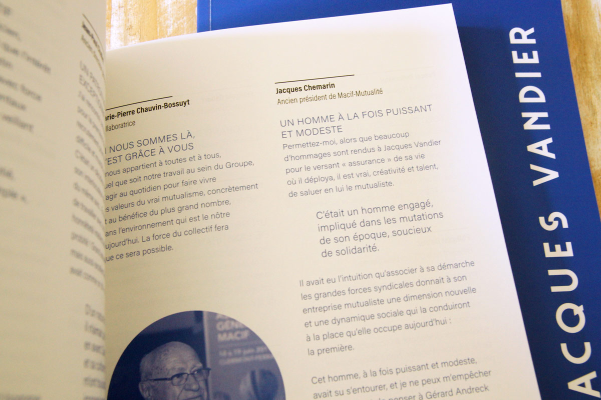 Maquette typographie Livre hommage